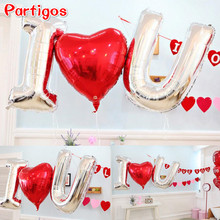 3pcs=2pcs 40'' sliver alphabet letter+1pcs 75cm red heart love foil helium balloons Valentine day Wedding Decor party supplies(China)