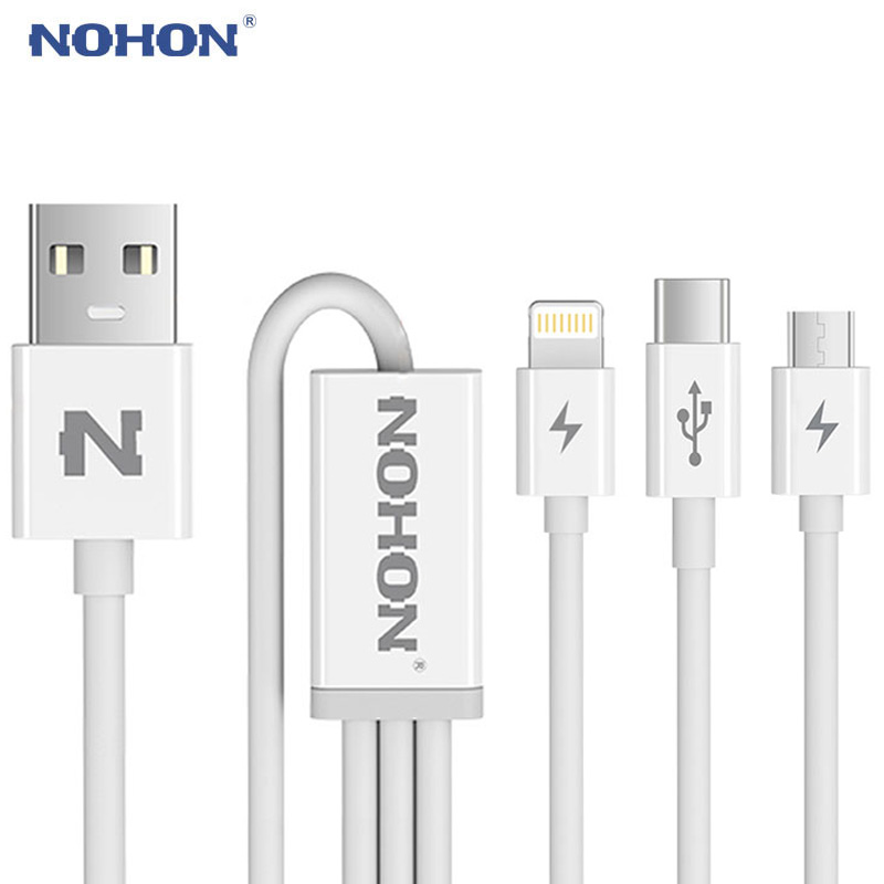 Original NOHON 3 in 1 USB Cable 8pin Type C Micro For iPhone 7 6 6S Plus iPad iPod Android Samsung LG Nokia Fast Charging +Data(China)