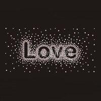 25PCS/LOT Rhinestone Iron On Transfers Motifs Love Design