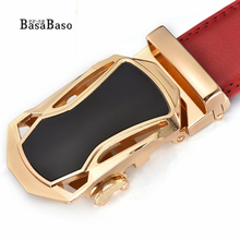 BasaBaso men's fashion Luxury red belts for men leather waistband for man designer belt cowskin high quality free shipping