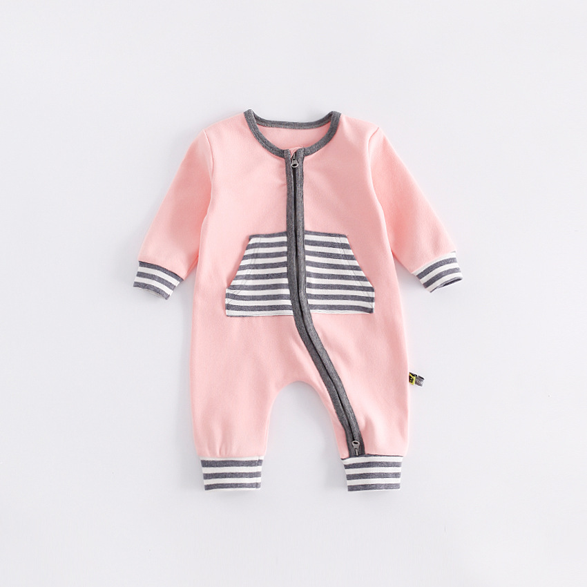 peninsula baby new style autumn winter baby climbing clothes Front striped back Smiling face Comfortable keep warm baby jumpsuit<br>