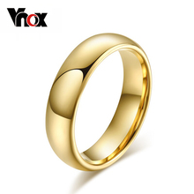 Vnox Simple 6mm Real Tungsten Ring Wedding Rings for Men Women Smooth Hand Polishing(China)