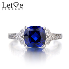 Leige Jewelry Solid 925 Sterling Silver Sapphire Ring Gemstone September Birthstone Cushion Cut Engagement Ring Gifts for Her