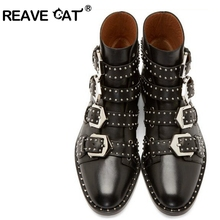 REAVE CAT Brand Genuine leather Motorcycle boots Biker Shoes Women Pointed Snow Boots Brand Shoe Famous Designer Woman Flats PA2