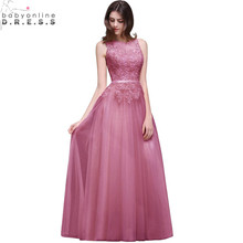 Robe de Soiree Longue Sexy Sheer Back Pink Lace Evening Dress 2017 Cheap Chiffon Evening Party Dresses Long Evening Gown