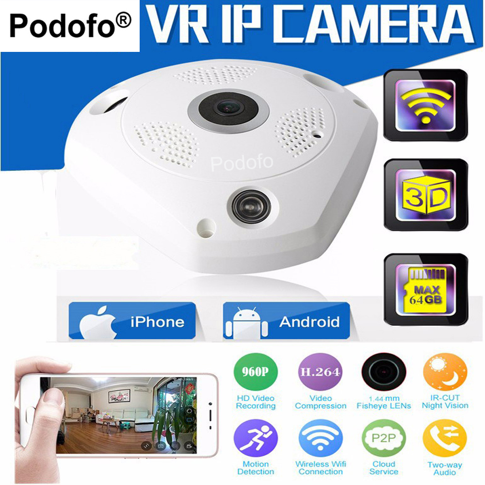 Podofo 960P H2.64 VR Wirelss IP Camera Fisheye 360 Panoramic 3D Cam HD Night Vision WIFI P2P Network SD Card Slot Home Security<br>