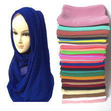 High Quality Pearl Bubble Chiffon Muslim Hijab Scarf Shawl Head Wrap Foulard Plain Solid Colour(China)