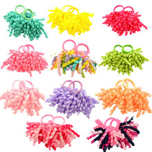 Free Shipping 2 Pcs/Pair Candy colored Girls' Curler Hair Ties Kids Ponytail Holder Hair Accessories(China)