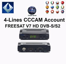 FREESAT V7 AV Cable Digital Satellite TV Receiver DVB-S/S2 FTA Set Top Box +4 lines 1 year Europe Spain cccam Account free ship(China)