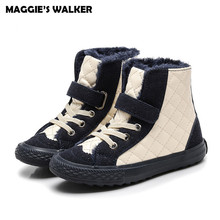 MAGGIE'S WALKER Children Casual boots Kids Girls Winter Warm Thicken Short Boots Baby Boys High Trainers Anti Skid Shoes(China)