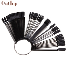OutTop Pretty New Fashion 50Pcs Black Nail Art False Nail Tips Sticks Practice Display Fan Board Design Nail Tools