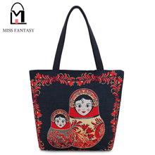 Women Bag Canvas Handbag for Female Autumn and Winter Embroidery Matryoshka Dolls Women Shoulder Bag for Girls Travel Totes