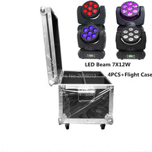 4pcs with Flight case 7x12W led beam moving head RGBW 4in1 dmx512 control moving wash light led spotlights professional dj light