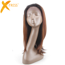 X-TRESS Half Hand Machine Made Wigs Brown Ombre Dark Roots Color Heat Resistant Kanekalon Straight Long Synthetic Lace Front Wig(China)