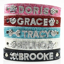 10MM Bling Personalized Dog Collar With Rhinestone Buckle DIY Name Pet Puppy Cat Collars (Free & 5 PCS Letter & 1PCS Charms )(China)