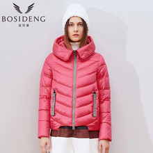 BOSIDENG winter jacket short down coat women's clothing outwear contrast colors hooded wide-waiste big collar H style B1501062