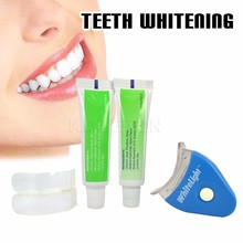 Hot sales LED White Light Teeth Whitening Tooth Whitener Health Oral Care Toothpaste Kit For Personal Dental Care Free shipping
