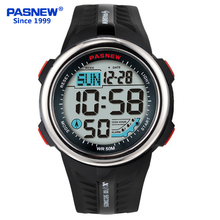 Pasnew New Men and Children Outdoor Sport Digital Luminous Waterproof Stopwatch Auto-sleep Dual Time Electronic Watch PSE-442B(China)