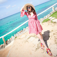 Beach   Beach Resort must be thin  Thailand 2016 new short pink dress female