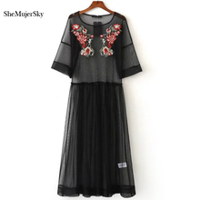 Buy 2017 Embroidery Black Mesh Summer Dress Women Sexy Long Summer Beach Dresses Robe Womens Clothing for $12.39 in AliExpress store