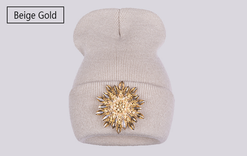 Ralferty 2018 Winter Hats For Women Knitted Luxury Flower Crystal Beanies Hat Female Skullies Caps Black Streetwear Gorras Gorro 10