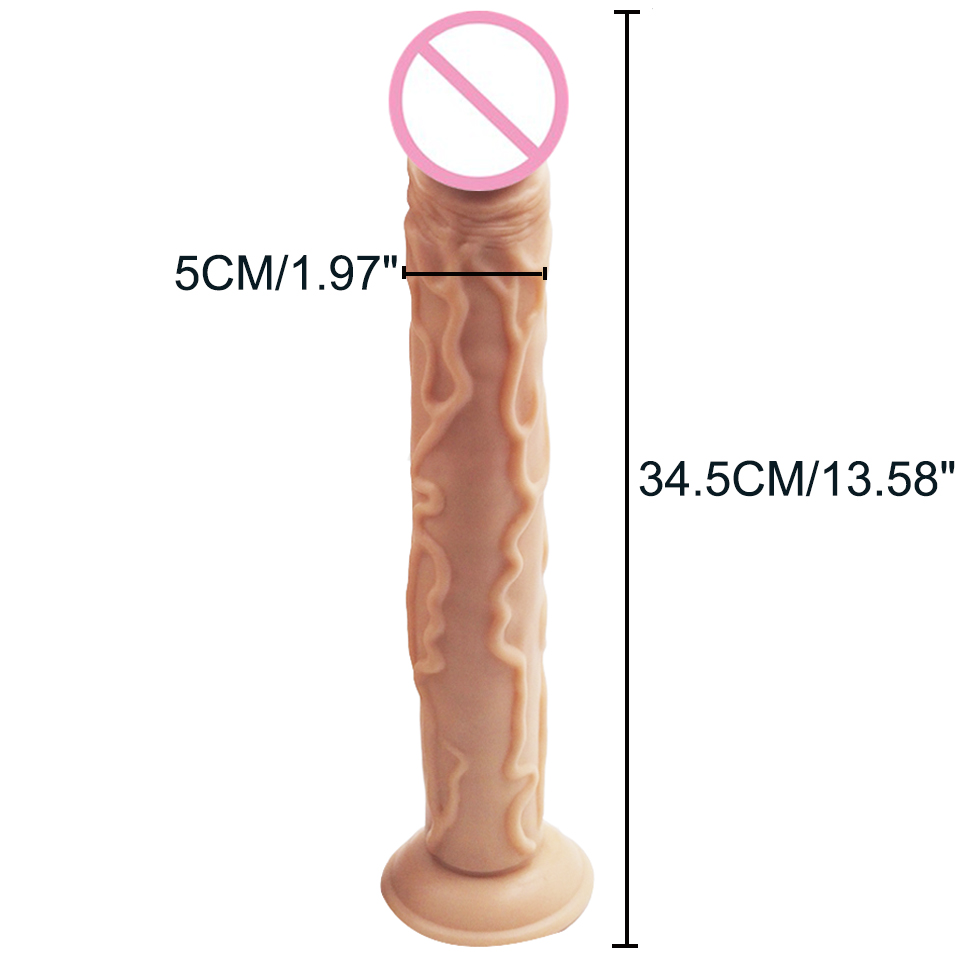 camaTech 35cm/13.8Inches Big Realistic Dildo with Suction Cup Super Soft Silicone Flexible Long Dildo Huge Thick Penis For Women 18