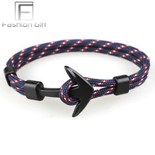 Navy Black Anchor Bracelets Camping Parachute Cord Survival Paracord Bracelet Handmade Jewelry(China)
