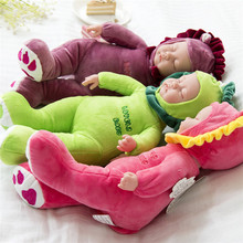 Baby plush doll sleeping reborn babies multicolors cartoon cat/rabbit clothing sing songs children bedtime toys bonecas(China)
