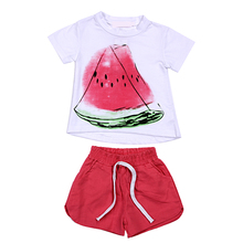 2Pcs Kids Clothes Set 2017 New Summer Casual Fruit Print Design Short Sleeve+Short Pant Toddler Suit Baby Clothing Sets For 2-6Y(China)