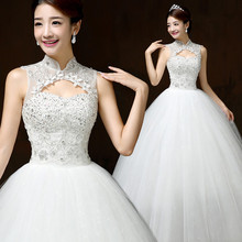 Free shipping,H60 Chinese style stand collar flower lace ball gown women wedding dresses (ding)