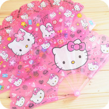 1 Pcs.Kawaii Kitty Cat Plastic Folding Fan.Cartoon Hand Fan.Summer Accesory For Girls Children's Gift.Free shipping