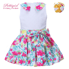 Pettigirl Girls Dress 2017 Summer Floral Print Girl Easter Cute Dresses With Bow Costume For Kids Children Clothes With Headband