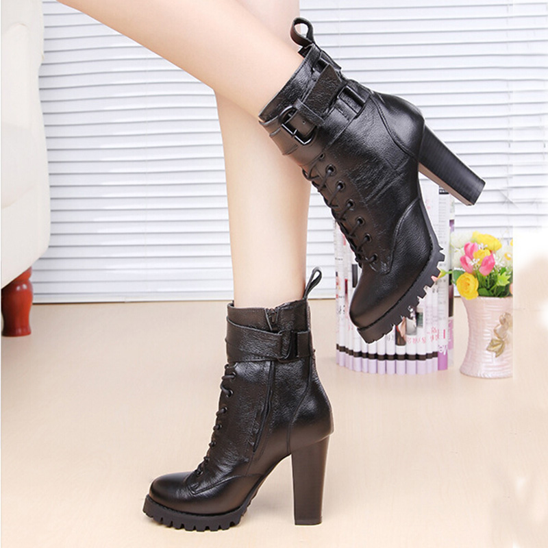 2017 Fashion Fall Winter Genuine Leather Women Boots Platform High-heeled Lace Up Ankle Boots Female Shoes Black Boots ZK2.5<br><br>Aliexpress