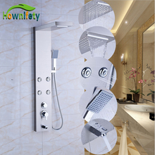 Nickel Brushed Shower Panel Shower Faucet Sets Rainfall Shower Head with Hand Shower Wall Mount