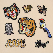 Embroidered Snake patches for iron on Clothing tiger patch small bee embroidery t shirt applique Modify Accessories(China)