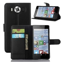 Free Shipping 100pcs/lot Smart Magenetic Card Holder Stand Leather Case Cover for Microsoft Nokia Lumia 950 N950 Phone Case