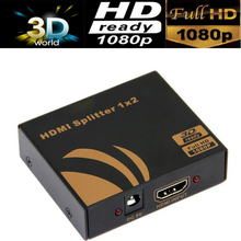3D HDMI SPlitter 1X2 split one HDMI input to 2 HDMI output with power supply(China)