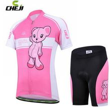CHEJI Kids Cycling Jersey Ropa Ciclismo Childrens Outdoor Sports Short Sleeve Bike Bicycle Shorts Set Pink Bear(China)