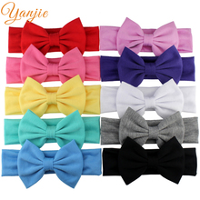 1PC Infantile Girls Solid Cotton Bow Headband Kids 2017 Headband Hair Bows Hair Band Little Girls Headbands Hair Accessories