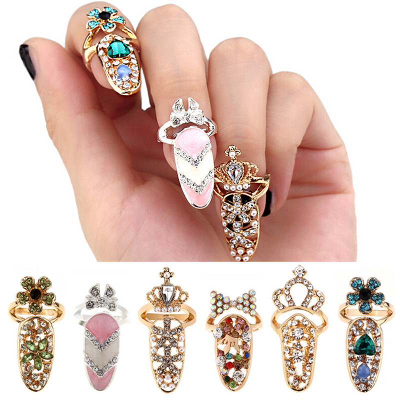 Bowknot Crown Nail Crystal Finger Nail Rings Charm Flower Lady Rhinestone Fingernail Protective Fashion Jewelry For Women