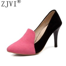 Buy ZJVI women fashion nubuck thin high heels pumps woman pointed toe shoes womens mixed colors autumn summer shoes ladies shoes for $20.80 in AliExpress store