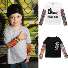 Boy Clothes Cotton T-shirt Long Sleeve Children Tee Shirts Novelty Tattoo Sleeve Baby Boys Tops Spring&autumn Kids Clothes CS102