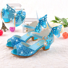 Girls sandals 2017 high heels children fashion princess leather summer elsa Anna sandals chaussure enfants fille sandalias(China)