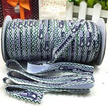 "MD150917-25-2155  Rugby Sports Series 5/8"" 16mm 50 Yards Football Seahawk Printed Elastic Ribbon Sport Clothing Supplies DIY"