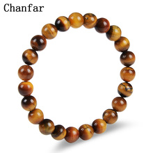 Chanfar Tiger Eye Natural Stone Beaded Bracelets Elastic Rope Chain Lava Round Bead Buddha Bracelets For Men&Women Jewelry