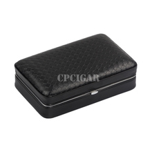 Cross Grain Embossed Black Leather Cedar Wood Lined Cigar Case Travel Outdoor Humidor Cigarette Storage Box W/ Cutter