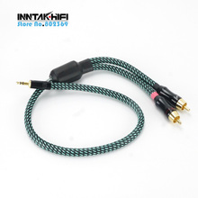 1PCS High Quality Hifi 3.5mm To 2 RCA Cable 4N-OFC Audio Cable(China)