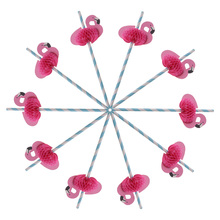 10Pcs Creative Pink Flamingo Paper Drinking Straws Fun Cocktail Beach Party Prop
