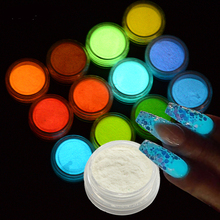 2017 NEW 12 Bottle/Set Nail Art Fluorescence Glitter Ultrafine Glow Powder Luminous Pigment Nail Decoration DIY Set BEYS01-12