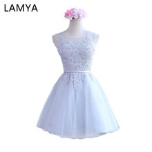 Lamya Women 2018 Custom Size Elegant Lace O-Neck Off The Shoulder A Line Prom Dresses Pure White Party Dress EV2720(China)